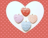 Conversation Heart Pendant, Valentine's Day Gift, Candy Hearts Jewelry, XOXO hugs and kisses, Add Ball Chain Necklace, Handmade Polymer Clay