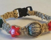 Hippie Hand Tied Hemp Cat Collar Safety Release Clip One Size Eco Friendly