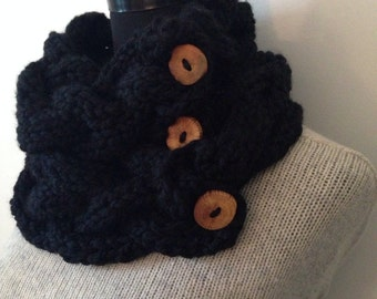 Black Knitted Cowl, Chunky Cable Neck Warmer with 3 Reclaimed Wood Buttons