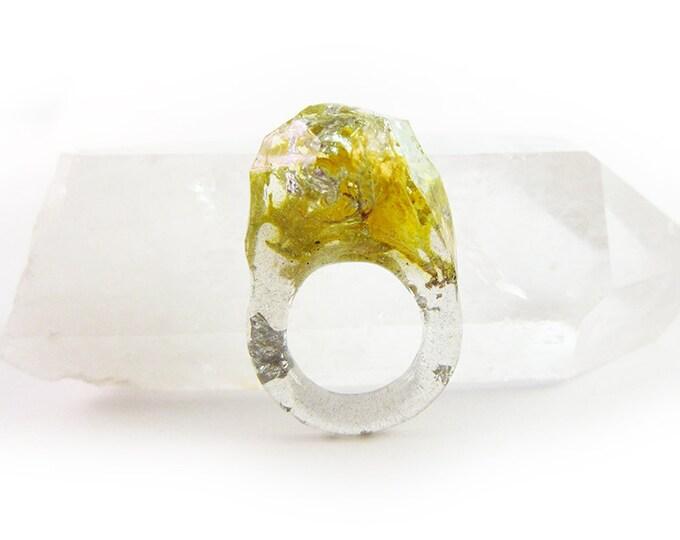 Terrarium + Silver Leaf Resin Ring • Size 4.5 • Geometric Terrarium Ring • Science Specimen Ring • Nature Moss Eco Resin Ring