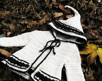 Lutin Marguerite, PDF crochet pattern - hooded cardigan in baby and toddler sizes - Easy crochet
