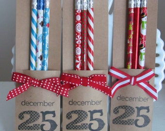 Holiday Pencil Packs - great stocking stuffers, party favors, or classroom gifts