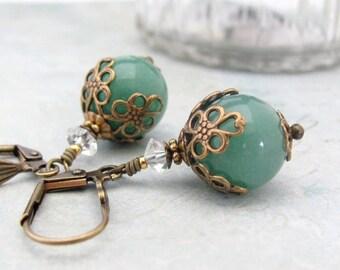 Aventurine Vintage Style Earrings, Green Stone Earrings, Green Earrings, Stone Earrings, Neo Victorian Earrings, Bold Dangle Earrings