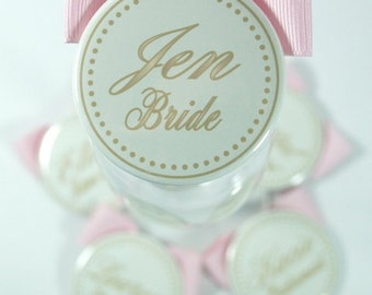 Gold Wedding Name Tags, Gold and Pink Bridesmaid Buttons