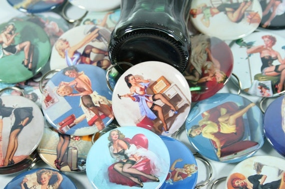 5 Pinup Girls BOTTLE OPENERS - Bachelorette Party Favor, Hen Party Favor, Bachelor Party Favor, Bridal Shower Favor