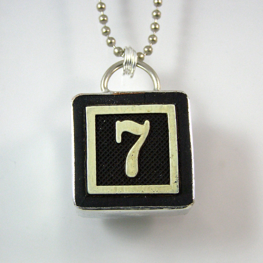 number 7 pendant necklace by xohandworks on etsy