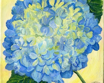 Hydrangea Painting on canvas, Original Square  Blue Flower Artwork, hydrangeas original painting 10 x 10, acrylic painting canvas art