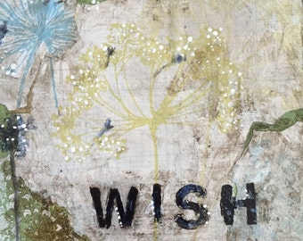 Mixed media Wish flower painting in vintage metal tray