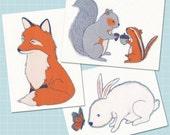Woodland Animals Flat Note Card Set