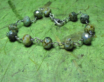 Ocean Floor - Picasso Czech Glass and Sterling Silver Bracelet