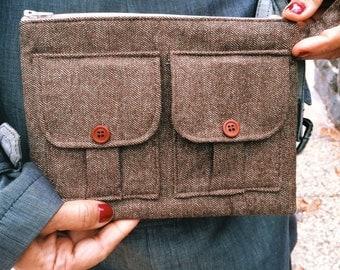 Dark Brown Wool Tweed Wristlet Wallet, Herringbone Fabric Wallet Wristlet, iPhone Wristlet, Cell Phone Wristlet, 144 Collection