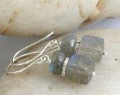 LABRADORITE Sterling Silver Hill Tribe Silver Dangle Earrings // Handcrafted Jewelry // luluglitterbug
