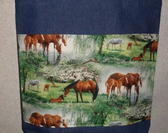 New Handmade Large Horse Farm Spring Dogwood Denim Tote Bag