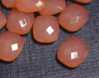 2for1 CLEARANCE - 24x20mm Small Translucent Faceted Acrylic Flat Pillow Beads - Coral Peach - Faceted Square Bead, Chunky Acrylic Bead