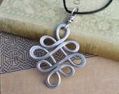 Big Celtic Knot Pendant, Aluminum Looping Crossed Knots Celtic Necklace, Large Celtic Jewelry, Big Pendant Light Weight Handmade Gift, Women