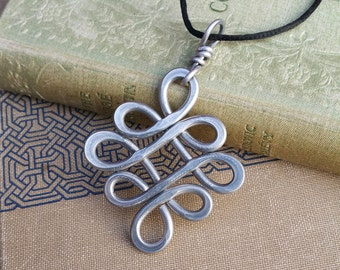 Big Celtic Knot Pendant, Aluminum Looping Crossed Knots Celtic Necklace, Large Celtic Jewelry, Big Pendant Light Weight Handmade Gift, Women