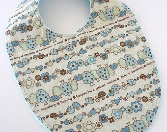 FLASH SALE - baby bib boutique forest woodland blue linen baby girl boy squirrel mushrooms trees  turquoise minky #77