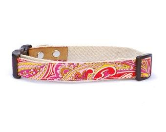 London Paisley-Pink. Hemp Dog Collar. Adjustable. Small Medium Large.