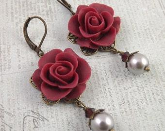 Burgundy and Gray Pearl Filigree Flower Earrings