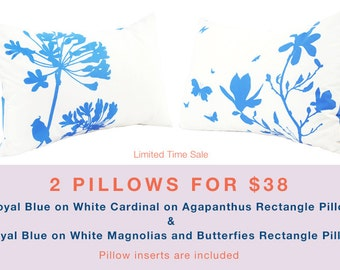 Limited Time Sale 2 Royal Blue on White Flower Pillows for 38 US Dollars