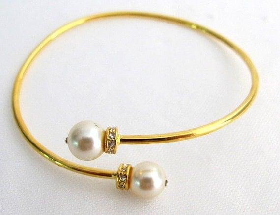 Pearl Bangle Bracelet Cuff Bracelet Gold Cuff Bracelet Cream Pearl Bangle Bracelet Gold Rhinestone Free Shipping In USA
