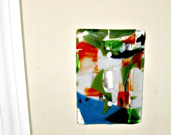 Colorful Fused Glass - Wall Single Light Switch Plate