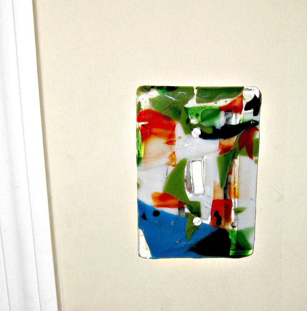 Fused Glass Wall Lights : Colorful Fused Glass Wall Single Light Switch Plate