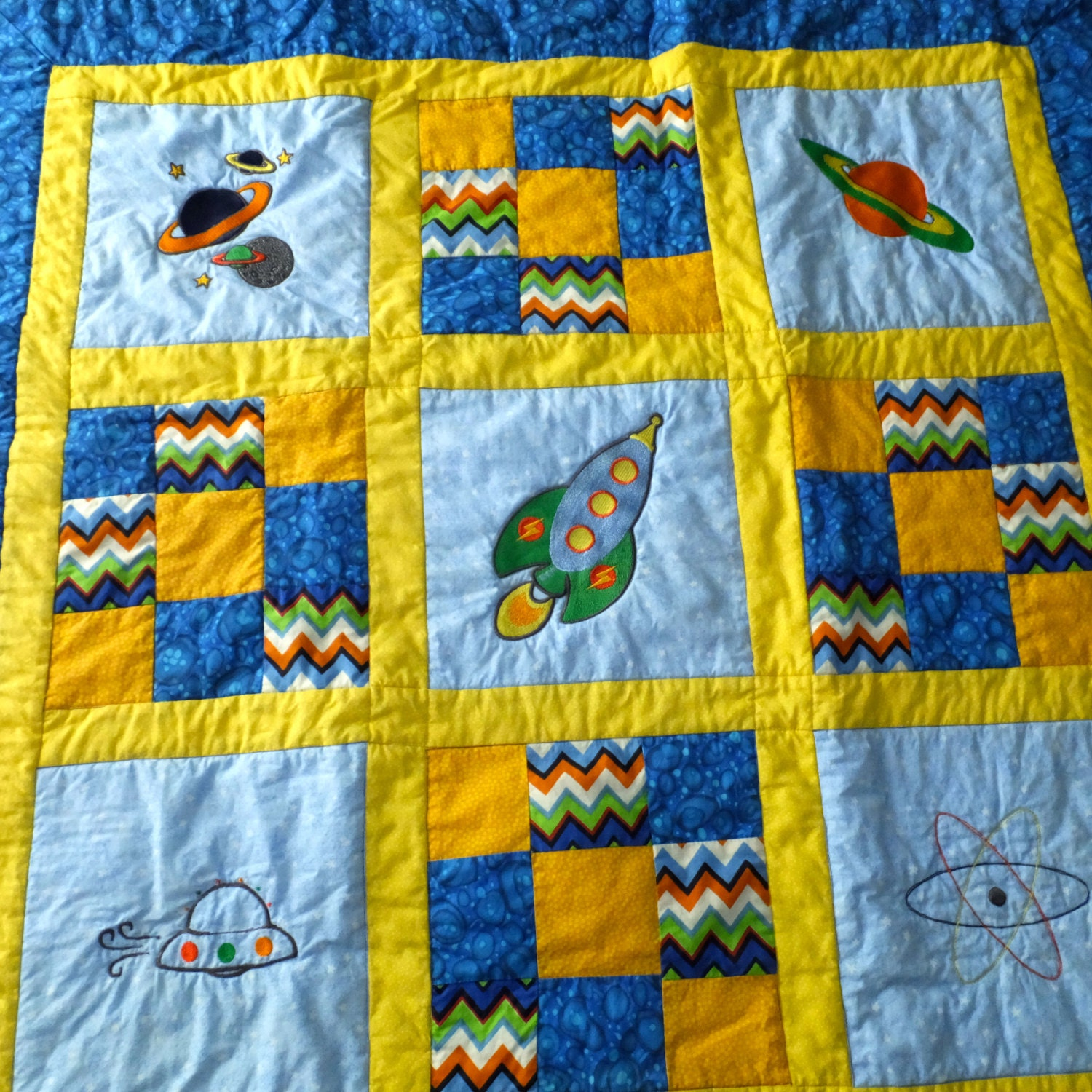 Baby boy quilt homemade baby quilt space theme by duckwells for Boy quilt fabric
