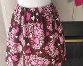 brown and pink hearts Valentine flannel elastic waist skirt