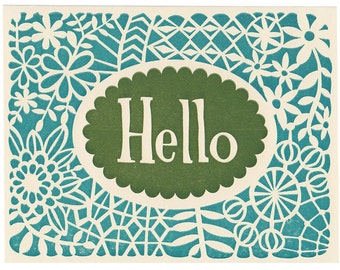 handmade letterpress Hello greeting card, blank inside, lace, pattern, floral, blue, green, all occasions, made in Maine