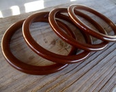 Vintage Bakelite Bangle Bracelet lot four pieces 4 pcs brown chocolate stack bohemian jewelry bakelite jewelry