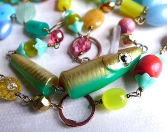 Green Fishing Lure Necklace - Tropical Summer Statement Necklace - Fun Colorful Bead Fishing Lure Necklace - Vacation Resort Jewelry