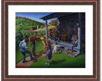 Folk Art Print, Appalachian Americana, Porch Music and Flatfoot Dancing Appalachia Framed and Matted Giclee Print, Mountain Music, Farm Life