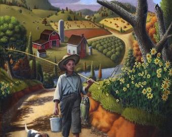 Farm Folk Art Country Landscape Giclee Print, Boy and Dog Fish Scene, Amish Americana, American