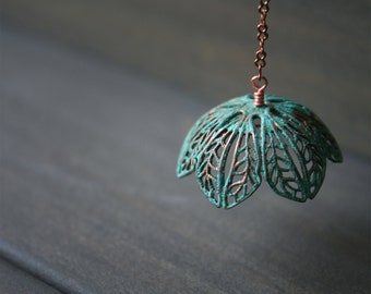 LAST ONE - Lotus Earring - Limited Edition - Online Exclusive - flower petal solo single big floating verdigris copper green long unique