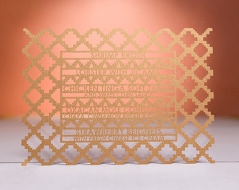 Mayan Wedding Menu, Laser Cut
