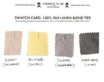 4 linen necktie swatches: Our exclusive silk & linen blend. Color sample card for custom, wedding and groomsmen gift orders.