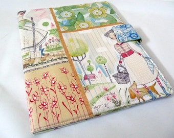 iPad 1 Cover in Whimsical Ladies Print Cotton, Book Style Case