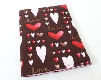 Valentine Hearts Passport Cover | Case, Brown, Pink and Red