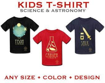 Kid's Science T-shirt, Childrens Astronomy Shirt, Boys Geek Tshirt, Girls Nerd Shirt, Educational Clothing, Geeky Shirt, Rock Star Scientist
