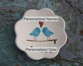 Wedding Gift Engagement Gift Personalized Ceramic Love Birds Ring Bowl Ring Dish