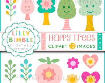 80% off HAPPY TREES clipart kitsch, fun, kawaii, chevron, cute, folk  Instant Download