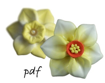 Polymer clay beads tutorial, handmade focal beads, daffodil, narcissus, flower, pdf, DIY, instant download