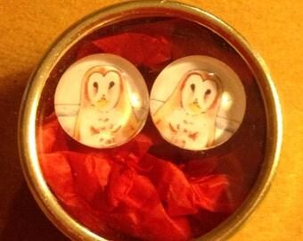 Barn Owl post Earrings Artwork in gift tin