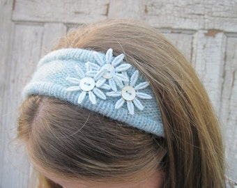 recycled eco friendly sweater headband pretty blue green vintage aster embellishments