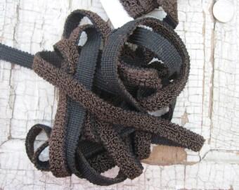 thick heavy dark chocolate and black braided loopy trim 3 yards