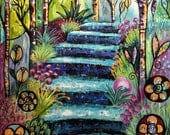 Original Intuitive Painting of Turquoise steps by Carol Iyer