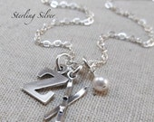 Personalized Snow Skis Charm Necklace, Sterling Silver Personalized Jewelry, Skier Gift, Silver Ski Charm, Initial and Birthstone Necklace