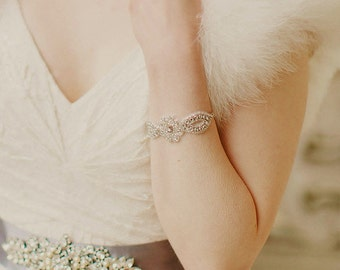 Wedding Cuff, Appliqué with Rhinestones, Marissa
