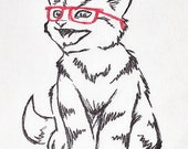 Cats with glasses - Embroidered Cotton Dish Towel with or without words